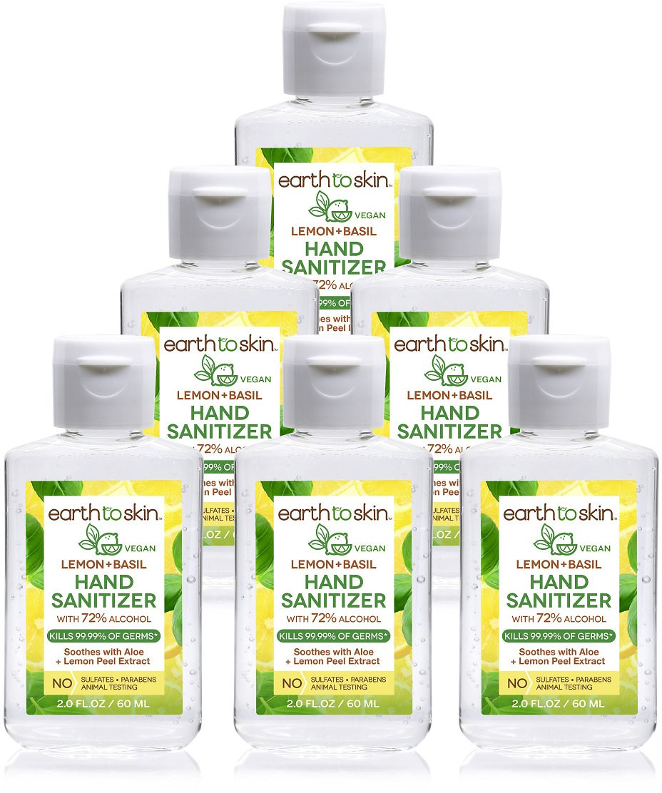 (6 Pack) Earth to Skin Hand Sanitizer Gel, 2 Oz Lemon + Basil