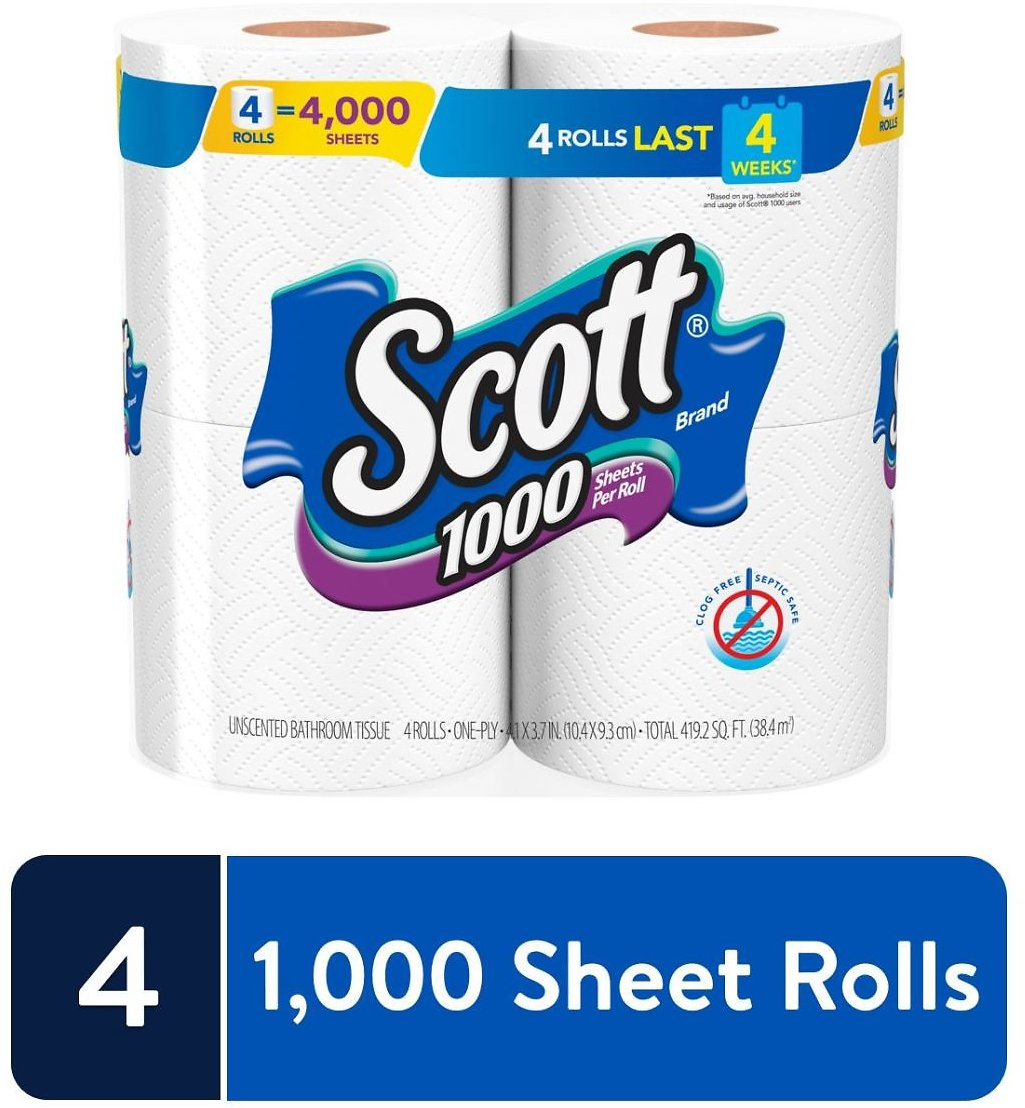Scott 1000 Sheets Per Roll Toilet Paper, 4 Rolls, Bath Tissue
