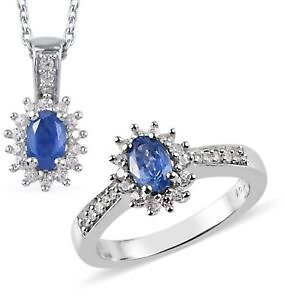 925 Sterling Silver Sapphire Ring Pendant Necklace Set Gift Size 6 & 20