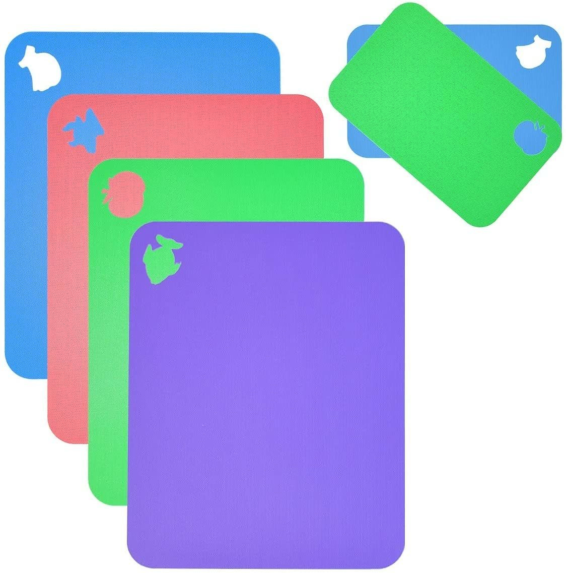 Flexible Cutting Board for Kitchen 14.5X11 Thick 0.7mm Set of 6 Flexible Cutting Board Mats With Food Icons Assorted Colors Plas
