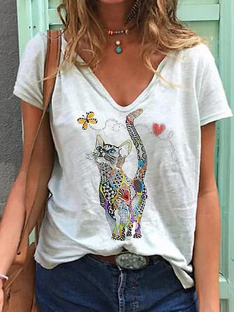 Butterfly And Cat Cartoon Printed Funny Short Sleeve Women Casual BlouseTopsfromWomen's Clothingon Banggood.com