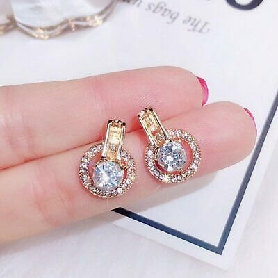 Classic Round Crystal Earrings Simple Circle Ear Stud Women Wedding Jewelry NEW