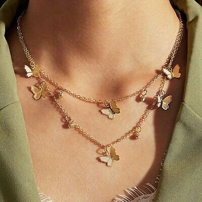 Double Layer Gold Butterfly Pendant Necklace Clavicle Chain Choker Women Gift