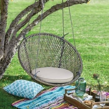 Belham Living Saria Resin Wicker Single Hanging Swing Chair with Seat Pad | Hayneedle