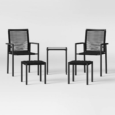 5pc Folding Rope Patio Stack Chair with Ottomans - Black - Project 62™
