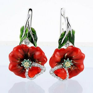 Pretty 925 Silver Drop Earrings for Women White Sapphire Jewelry Gift A Pair/set