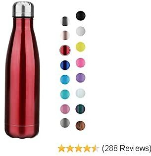 JEAREY Water Bottle Stainless Steel 17oz BPA Free Leak Proof Cola Shape Flask Kids Thermoses for Sports Travel Outdoor (Red, 1pack)