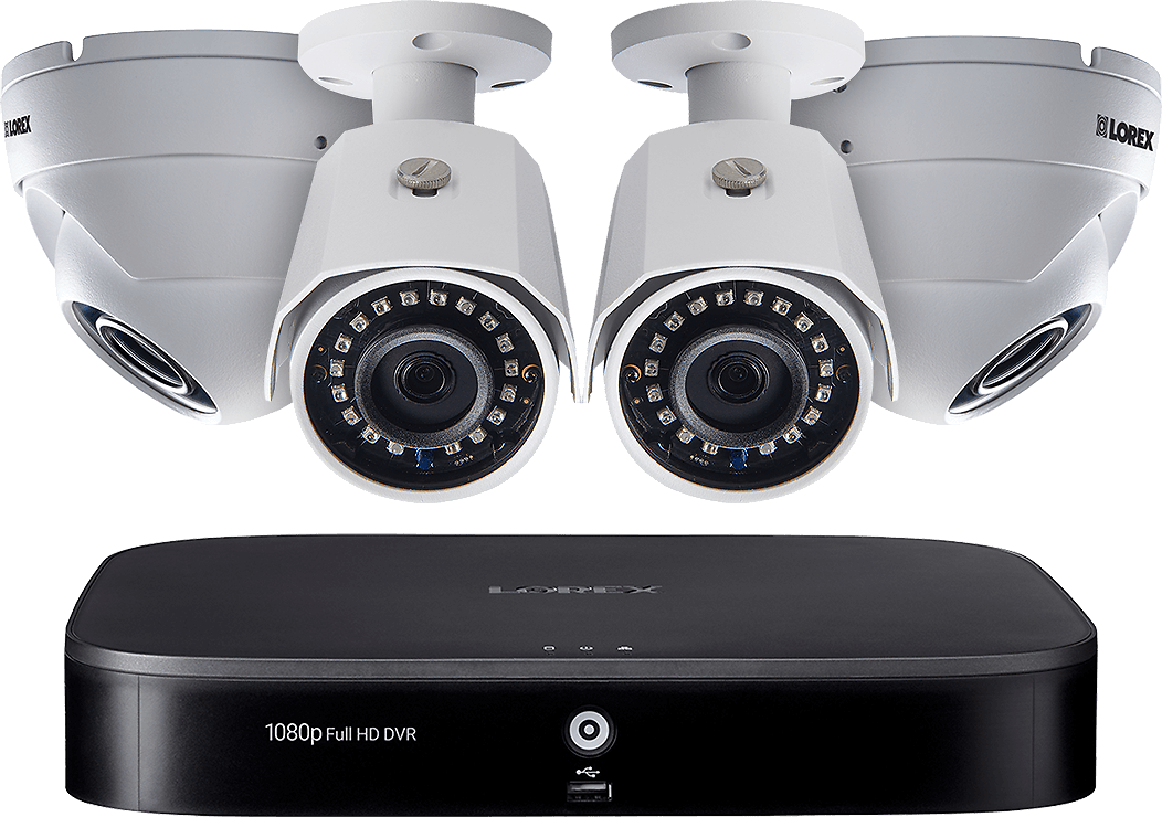1080p HD 8-Channel Security System with Four 1080p HD Outdoor Cameras, Motion Detection and Voice Control