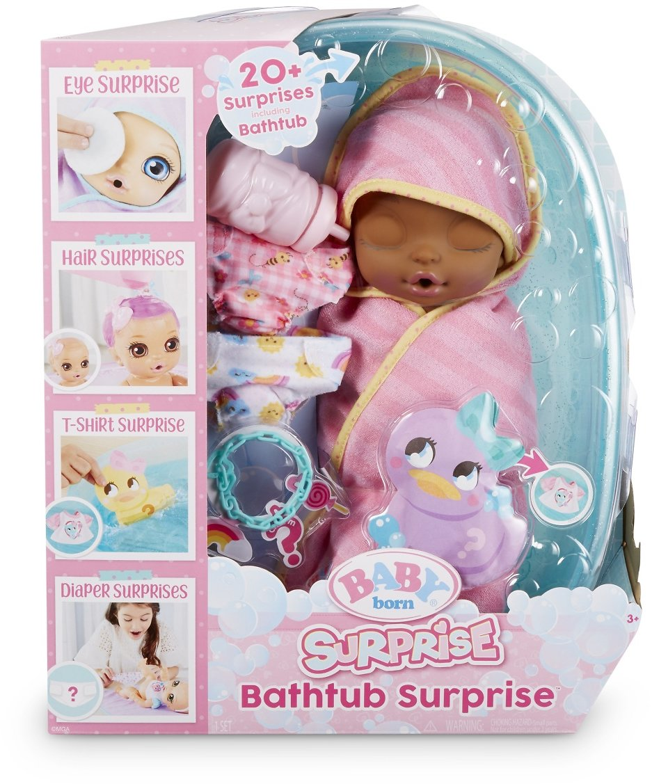 Baby Born Surprise Bathtub Surprise Pink Swaddle Fairy w/ 20+ Surprises