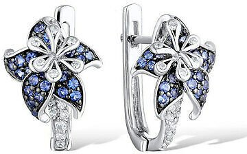 Pretty Stud Earrings for Women 925 Silver Blue Sapphire Earrings A Pair/set