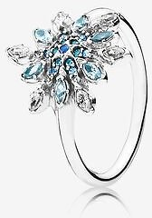 Crystalized Snowflake Ring, Blue Crystals & Clear CZ - FINAL SALE
