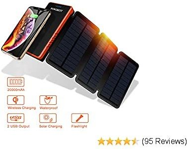 POWOBEST 20000mAh Solar Cell Phone Charger with LED Light, Solar Power Bank Portable Waterproof Camping Gear Wireless Panel Charger for Camping Outdoor Compatible for IOS Android