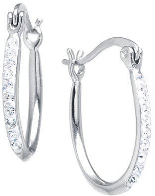 Giani Bernini Crystal Oval Hoop Earrings in Sterling Silver. Available in Clear, Gray or Blue