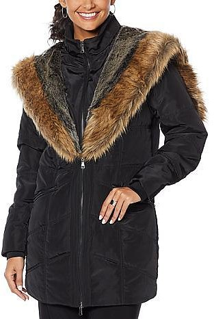 Antthony Puffer Jacket with Faux Fur Trim - 9222680   HSN