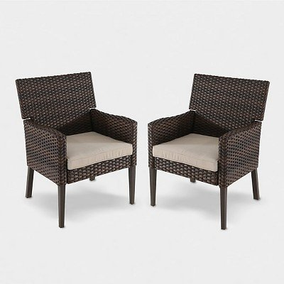 Halsted 2pk Wicker Patio Dining Chair