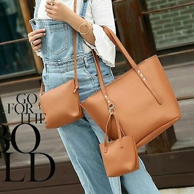 Three Set Bags Women Faux Leather Handbags Messenger Tote Solid Color Zipper