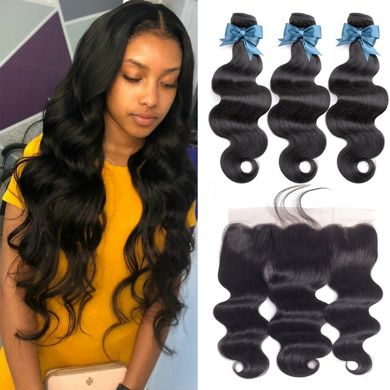 Brazilian Hair Weave Bundles Body Wave Bundles With Frontal Human Hair 3 Bundles With Closure Frontal Hair Extension