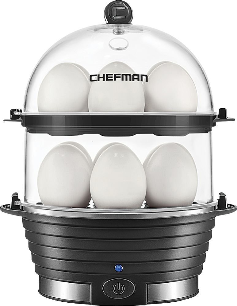 CHEFMAN - 12-Egg Electric Egg Cooker - Black