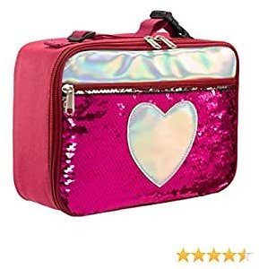 HollyHOME Insulated Lunch Box Reversible Sequin Lunch Tote Bag Lunch Box Reusable Lunch Bag For Girls Boy Red
