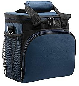 HollyHOME Reusable Insulated Lunch Bag Large Lunch Boxes Waterproof Cooler Tote Bag with Shoulder Strap for Meal Prep for Men Women Grey Blue