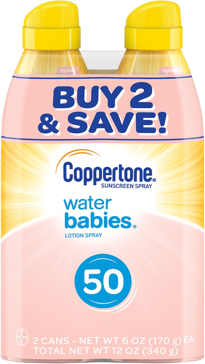 Pack Of 2 Coppertone WaterBABIES Sunscreen Spray SPF 50, (6 Oz Each)