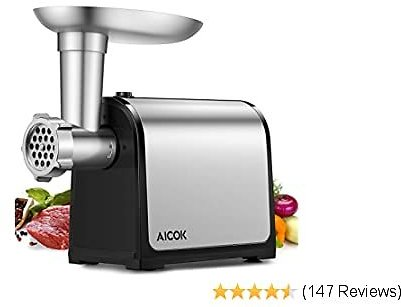 AICOK Electric Meat Grinder, 3-IN-1 Meat Mincer & Sausage Stuffer, [1500W Max] Food Grinder with Sausage & Kubbe Kits, 2 Grinding Plates, Stainless Steel, Home Kitchen & Commercial Use