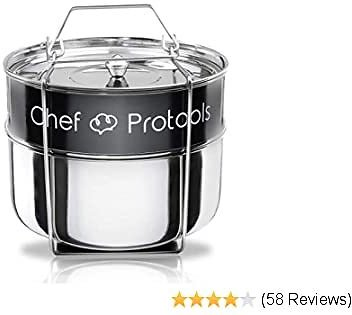 Instant Pot Stackable Steamer By Chef Protools - InstaPot Accessory 6Qt Insert Pan HEAVY DUTY Food Steamer