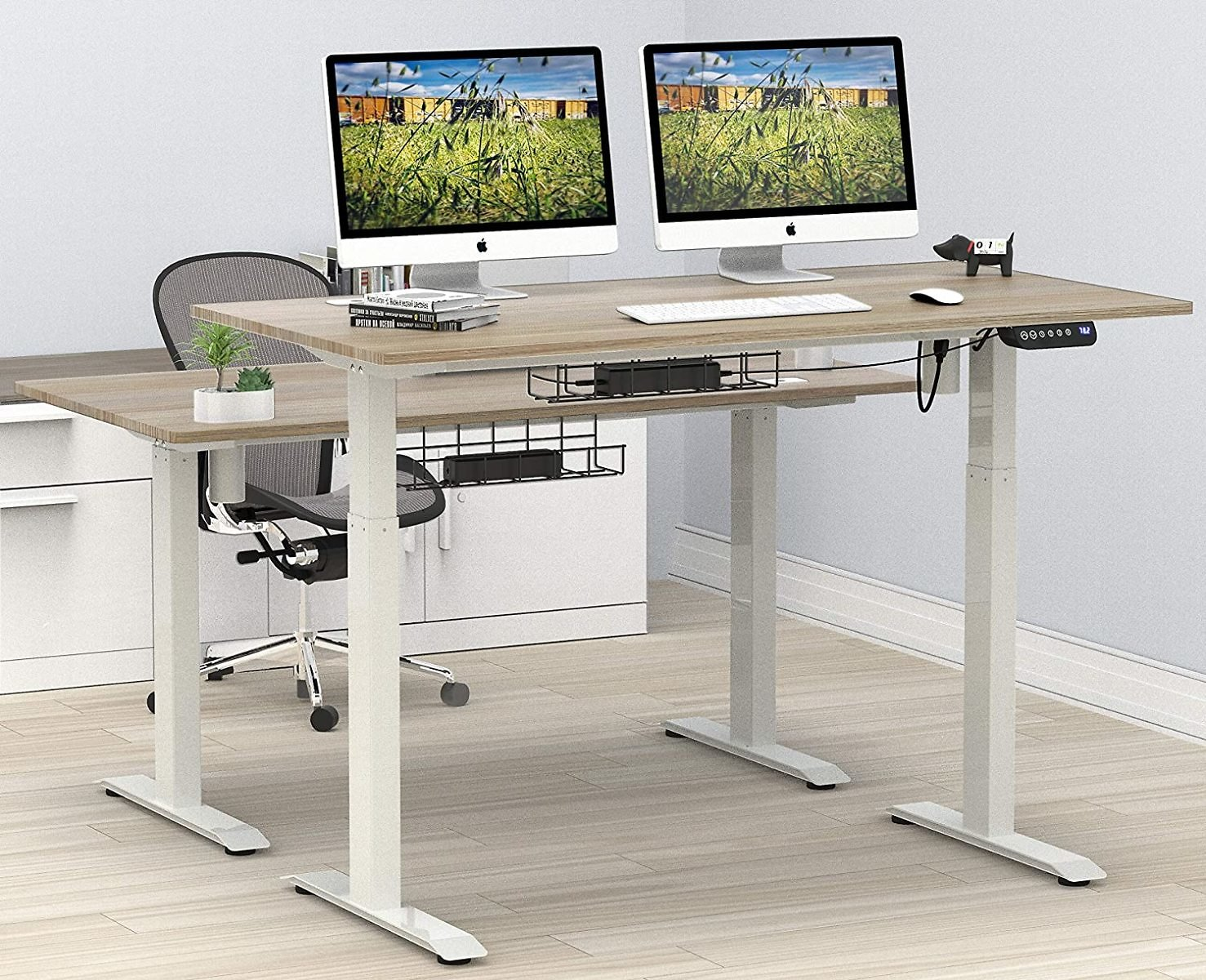 SHW 55-Inch Large Electric Height Adjustable Computer Desk