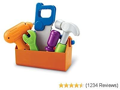 Learning Resources New Sprouts Fix It!, Fine Motor Tools for Toddlers, Pretend Play Toy Tool Set, Outdoor Toys, 6 Piece, Ages 2+