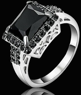 Size 6 Vintage Princess Cut Black Obsidian Wedding Ring Silver Rhodium Plated