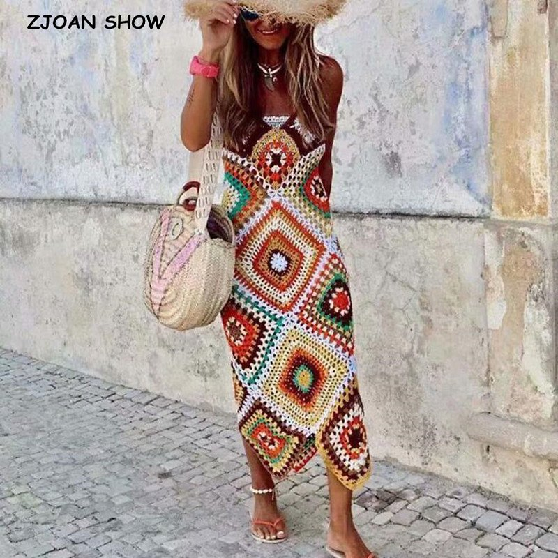 BOHO Summer Multi Color Plaid Hand Crocheted Spaghetti Strap Long Dress Retro Women V Neck Backless Sling Dresses Beach