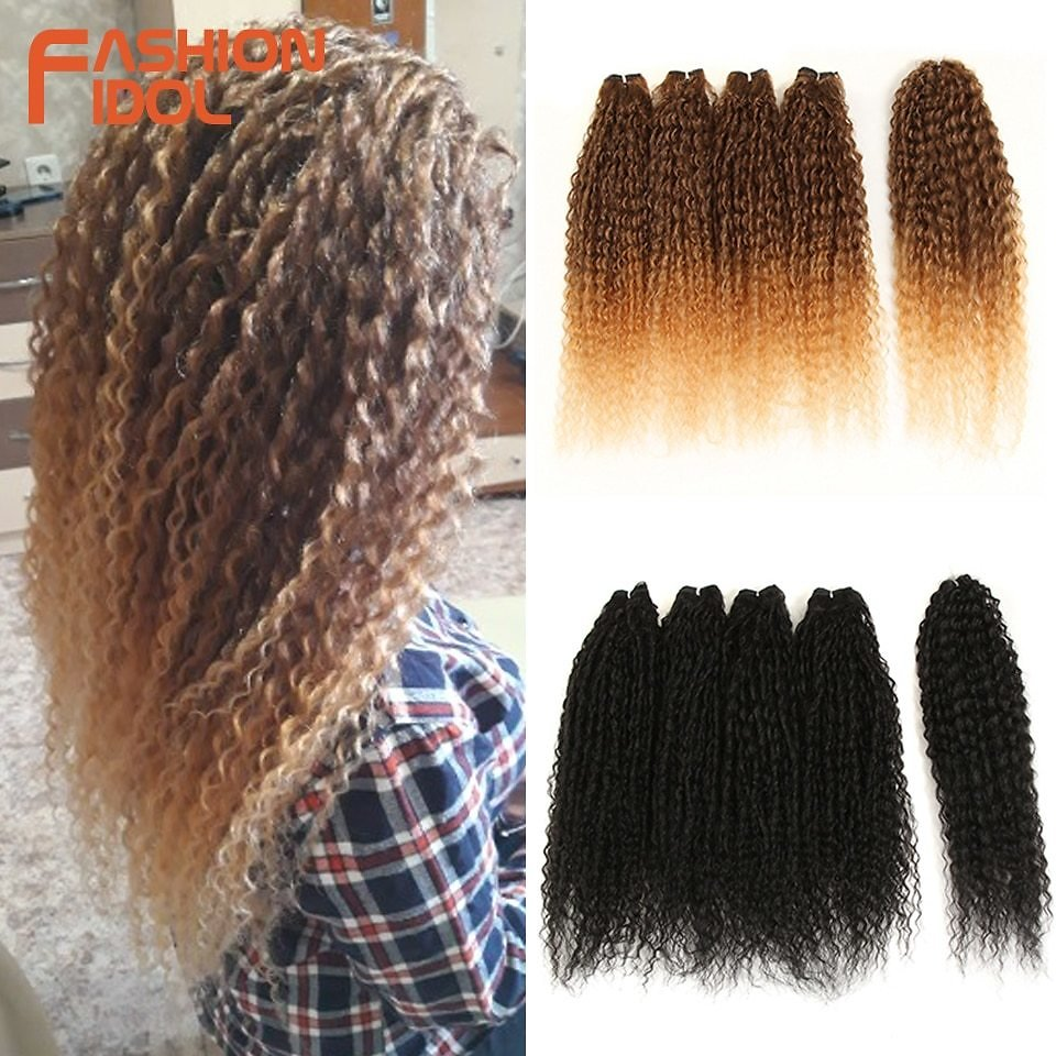 Afro Kinky Curly Hair Bundles 5pcs/pack 24 Inch Ombre Blonde Nature Black Color Synthetic Hair Weave Bundles Fiber