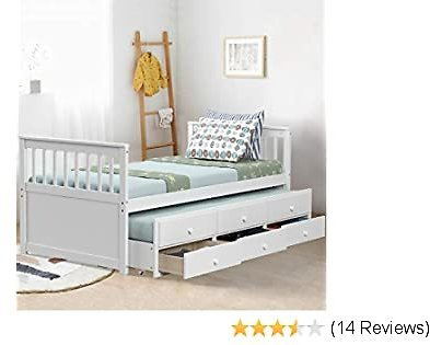 Giantex Twin Captain's Bed with Trundle Bed, Wood Storage Daybed with 3 Storage Drawers, Bunk Bed Alternative, No Box Spring Needed, Wooden Platform Bed Great for Kids Guests Sleepovers (White)