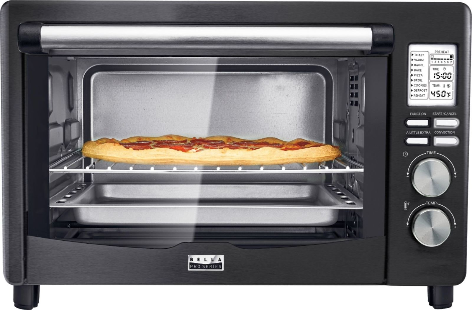 Bella Pro Series 6-Slice Toaster Oven Black Stainless Steel + F/S