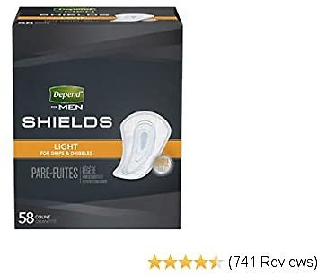 Depend Shields for Men, Light Absorbency Incontinence Protection, 174 Count (3 Packs of 58)