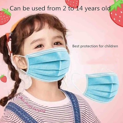 Disposable Dust Face Filter Masks Mouth Protective Children Respirator Kids Facemask Shield 50pcs