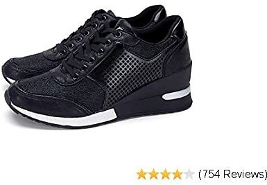 High Heeld Wedge Sneakers for Women - Ladies Hidden Sneakers Lace Up Shoes, Best Chioce for Casual and Daily Wear