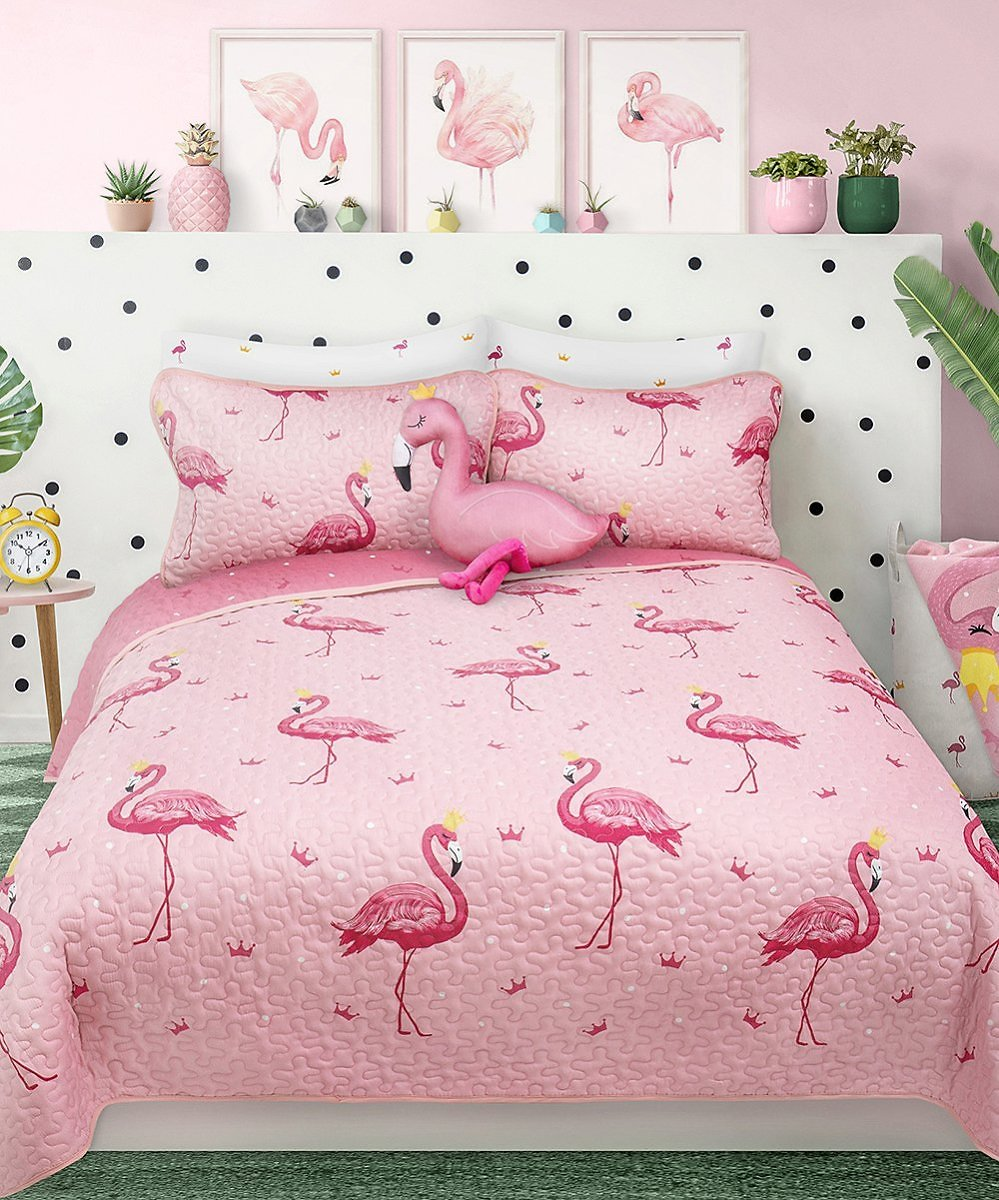 Love This Product Pink Flamingo Reversible Quilt Set - Twin Size