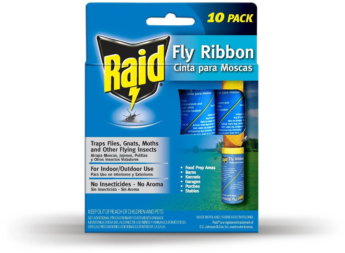 RAID® Fly Ribbons, 10 Count, Outdoor & Indoor Fly Traps, Effective for Kitchen & Food Prep Areas