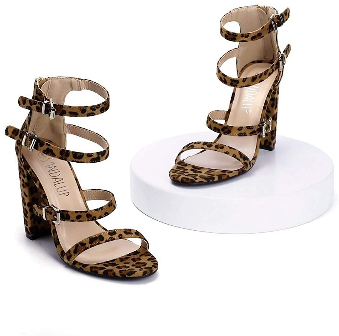 60% Off SANDALUP Adjustable Buckle Ankle Straps Chunky Heels for Women