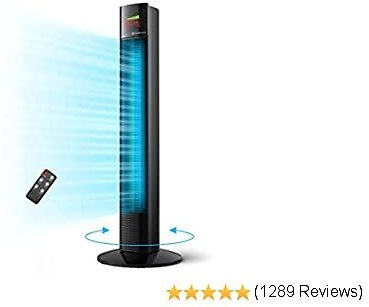 """Tower Fan, Taotronics 36"""" Oscillating Tower Fan with Remote, Quiet Cooling, 3 Modes, 3 Speeds, LED Display, 12-Hour Timer, Space-Saving, Portable Floor Bladeless Fan for Bedroom Living Rooms"""
