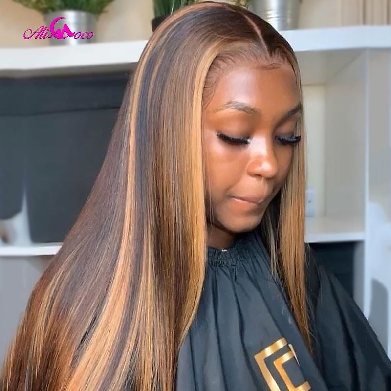 Pre Plucked Lace Front Human Hair Wigs Ombre Remy Frontal Wig For Black Women Highlight Colored Human Hair Wigs