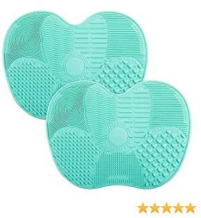 Brush Cleaning Mat, Easkep Makeup Cleaner Pad Portable Washing Tool Scrubber with Suction Cup Set of 2 Cosmetic Silicone (Blue+Blue)