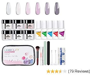 Dipping Powder Nail Starter Kit - White Nude 6 Colored Dip Powder System Nail Kit, Acrylic Dipping System for French Nail Manicure Nail Art Set Essential Kit All-in-One Portable Travel Kit (P-05)