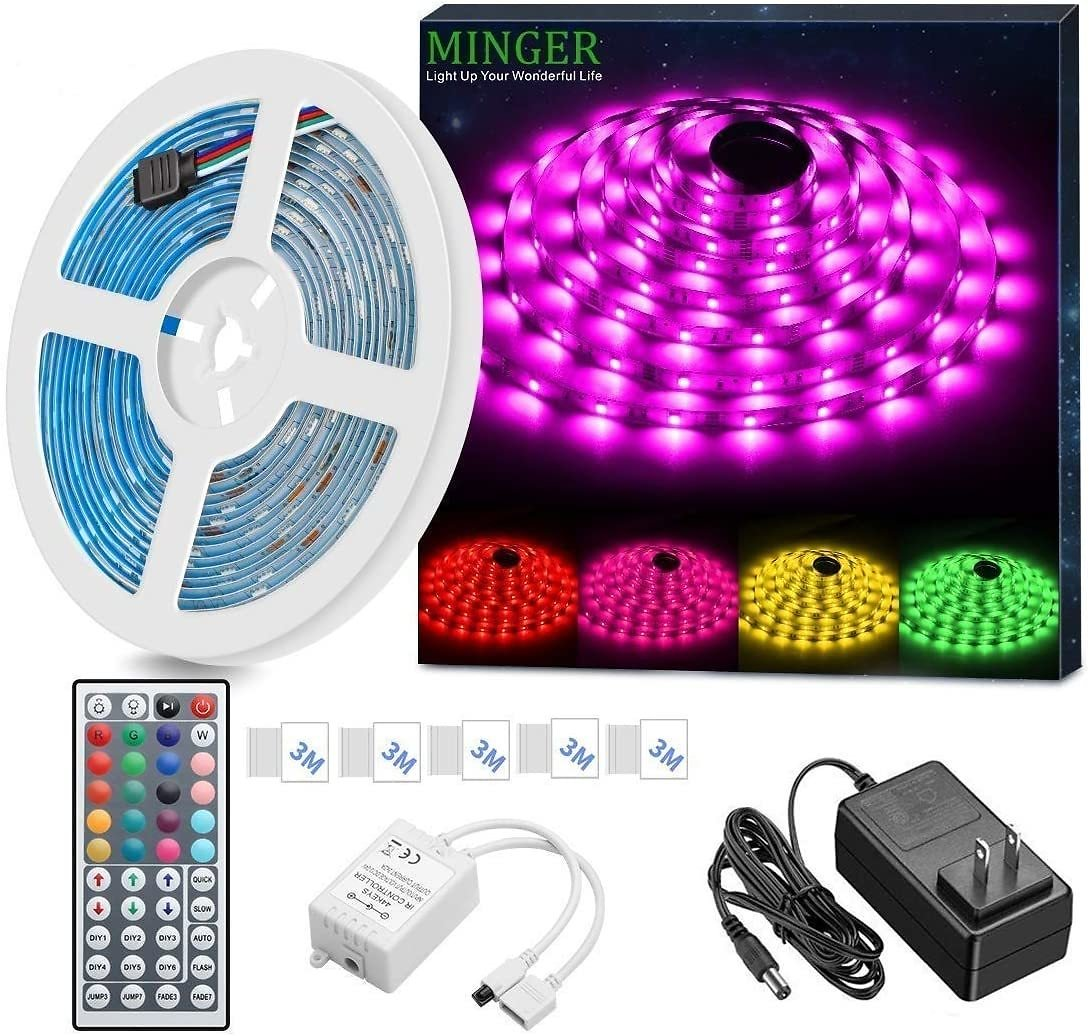 MINGER LED Strip Light Waterproof 16.4ft RGB SMD 5050 LED Rope Lighting Color Changing Full Kit with 44-keys IR Remote Controlle