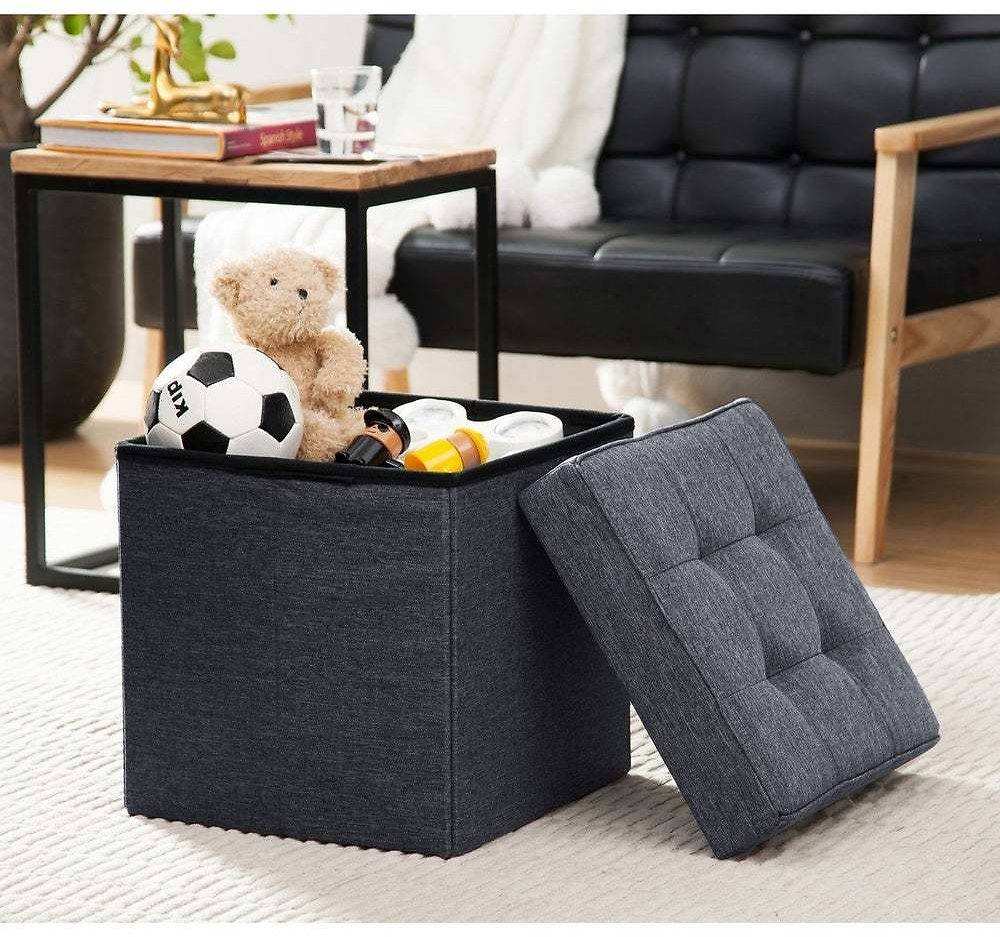 Foldable Tufted Linen Storage Ottoman Cube