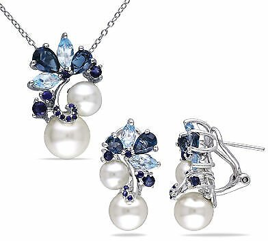 Amour Sterling Silver Cultured FW Pearl Blue Topaz Sapphire Necklace & Earrings