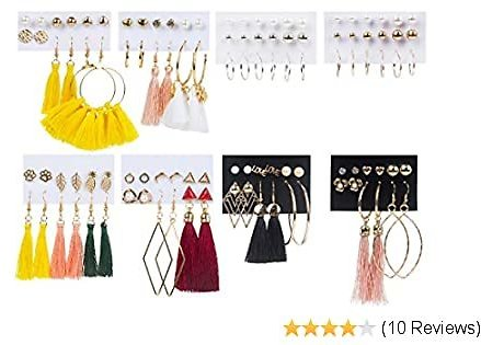54 Pairs Tassel Earrings Sets for Women Dangle Hoop Earrings for Women Fashion