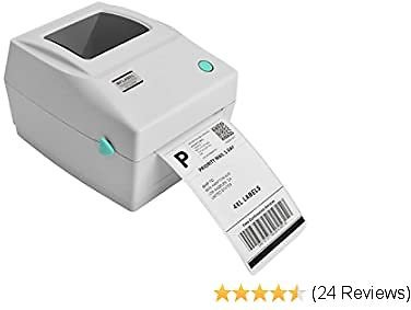 MFLABEL Label Printer, 4x6 Thermal Printer, Commercial Direct Thermal High Speed USB Port Label Maker Machine, Etsy, Ebay, Amazon Barcode Express Label Printing,White