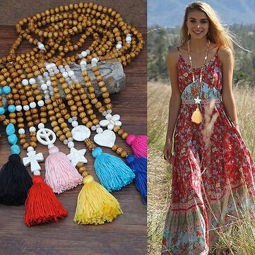 Bohemian Wooden Beads Tassel Necklace Geometric Heart Star Butterfly Turquoise Pendant Long NecklaceJewelryfromJewelry,Watches & Accessorieson Banggood.com